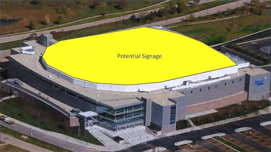The roof may be among the places new signs will be located when the 14-year-old Sears Centre Arena in Hoffman Estates transitions to the NOW Arena this fall.
