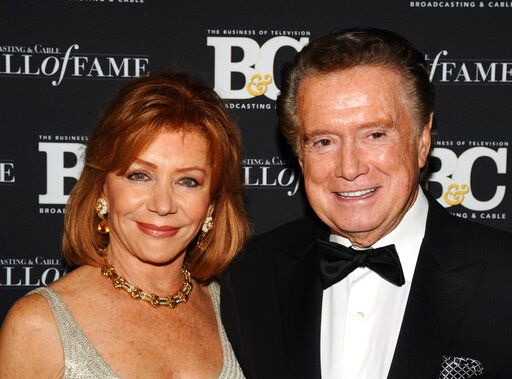 FILE - In this Oct. 27, 2010 file photo,  Regis Philbin and his wife Joy Philbin attend the 20th anniversary of The Broadcasting & Cable Hall of Fame, in New York.  Philbin, the genial host who shared his life with television viewers over morning coffee for decades and helped himself and some fans strike it rich with the game show 'œWho Wants to Be a Millionaire,'� has died on Friday, July 24, 2020.