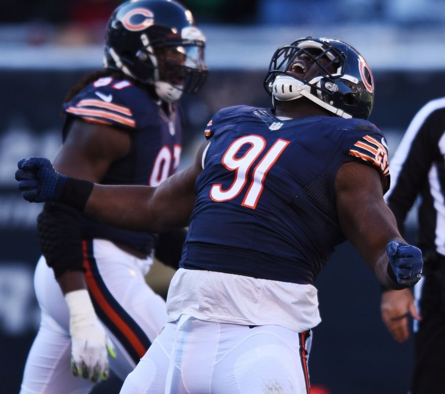 Bears nose tackle Eddie Goldman celebrates a first-quarter sack against Denver Broncos quarterback Brock Osweiler. The Bears are fully behind defensive tackle Eddie Goldman's decision to opt out of the 2020 season.
