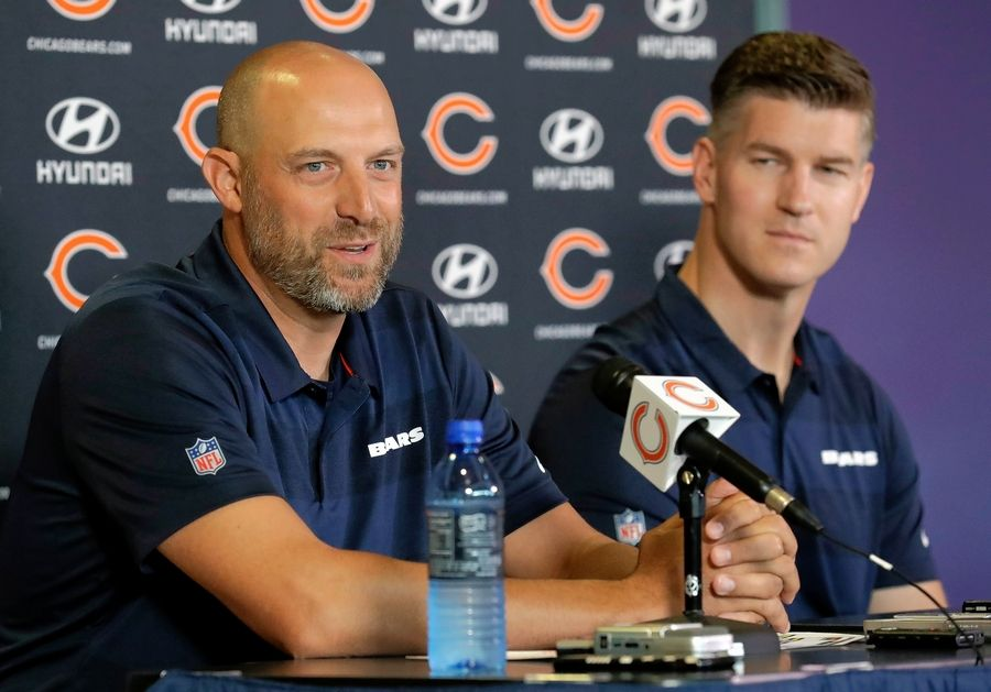 FILE - In this July 19, 2018, file photo, Chicago Bears head coach Matt Nagy, left, speaks as general manager Ryan Pace looks on at a news conference during an NFL football training camp in Bourbonnais, Ill.