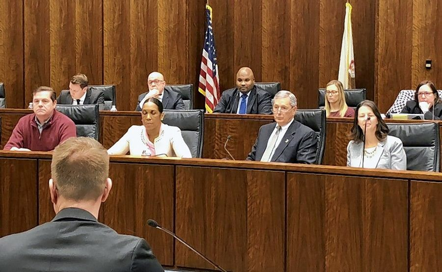 Suburban officials and other lawmakers question experts during a hearing in January with members of the state's Joint Commission on Ethics and Lobbying Reform.