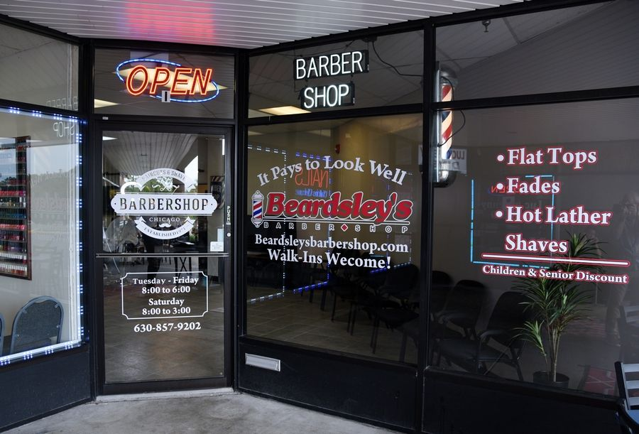 Beardsley's Barber Shop's ninth location is tucked into the corner of a strip mall along Ogden Avenue at River Road and Valley Drive in Naperville.