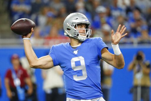FILE - In this Sept. 29, 2019, file photo, Detroit Lions quarterback Matthew Stafford throws during the first half of an NFL football game against the Kansas City Chiefs in Detroit. Stafford was put on the reserve/COVID-19 list by the Lions, according to the league's transactions report Saturday, Aug. 1, 2020. The list was created for players who either test positive for COVID-19 or have been in close contact with an infected person.
