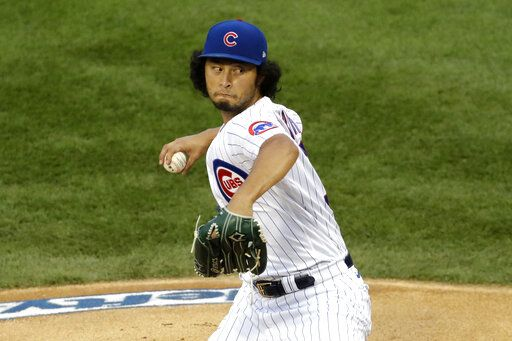Chicago Cubs starting pitcher Yu Darvish, of Japan, throws against the Pittsburgh Pirates during the first inning of a baseball game in Chicago, Friday, July 31, 2020.
