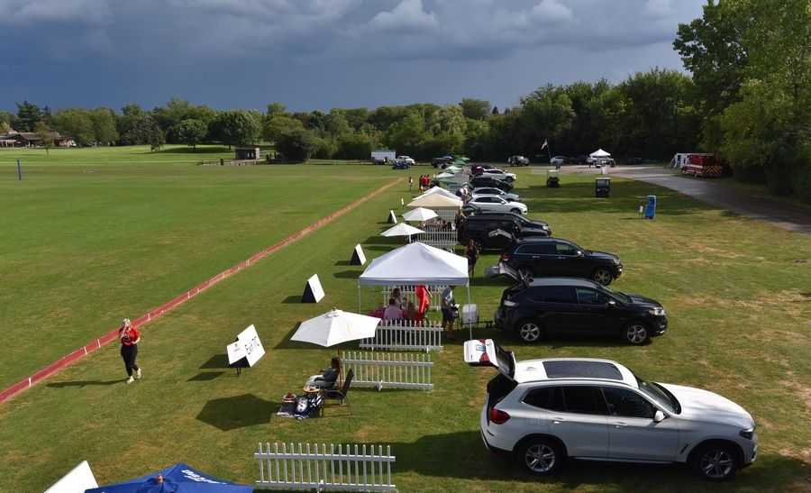 Where there were grandstands, there is now tailgating at the Oak Brook Polo Club.