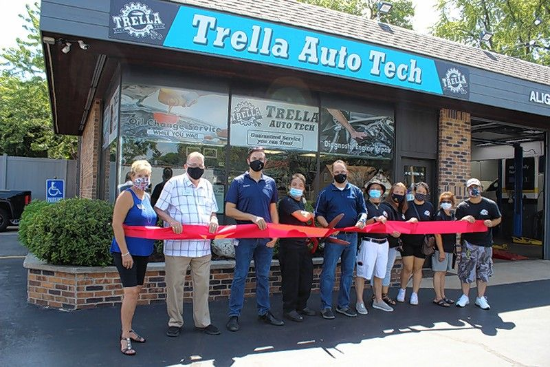 A ribbon-cutting ceremony was recently held for Trella Auto Tech, a full service auto care facility at 10 W. Irving Park Road in Bensenville. Village President Frank DeSimone joined business owner Nick Ventrella as he cut the ceremonial red ribbon. They were joined by Village Manager Evan K. Summers, representatives from the Bensenville Chamber of Commerce, and family and friends.
