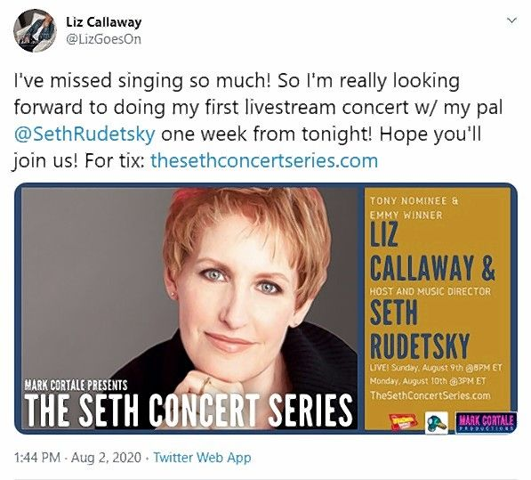 Winnetka native and Broadway veteran Liz Callaway will perform a livestreamed concert.