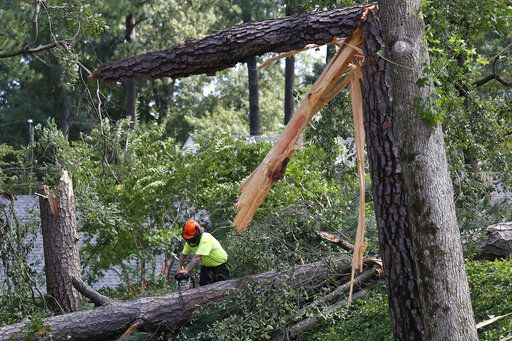 Crews use chainsaws to cut down fallen trees in the Riverview neighborhood of Suffolk, Va., after Hurricane Isaias moved through the region Tuesday, Aug. 4, 2020. (Jonathon Gruenke/The Daily Press via AP)