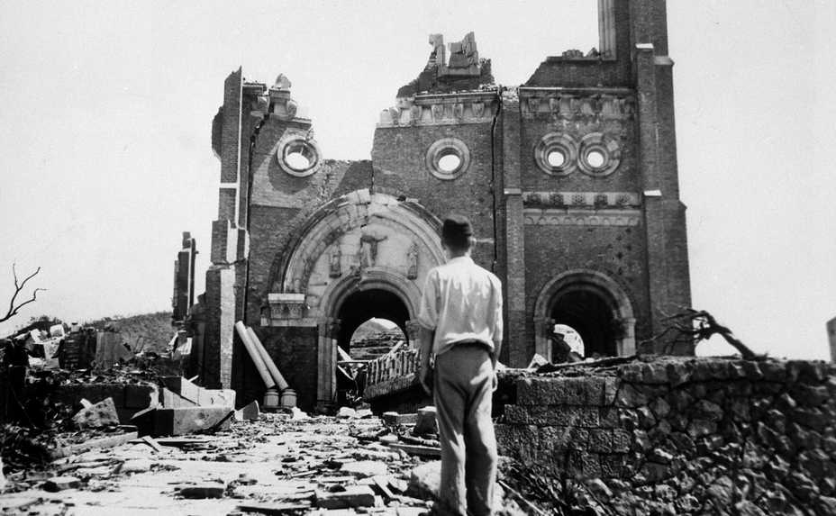 In this Sept. 13, 1945, file photo, the Urakami Catholic Cathedral in Nagasaki, Japan, stands waste in the aftermath of the detonation of the atomic bomb over a month earlier.