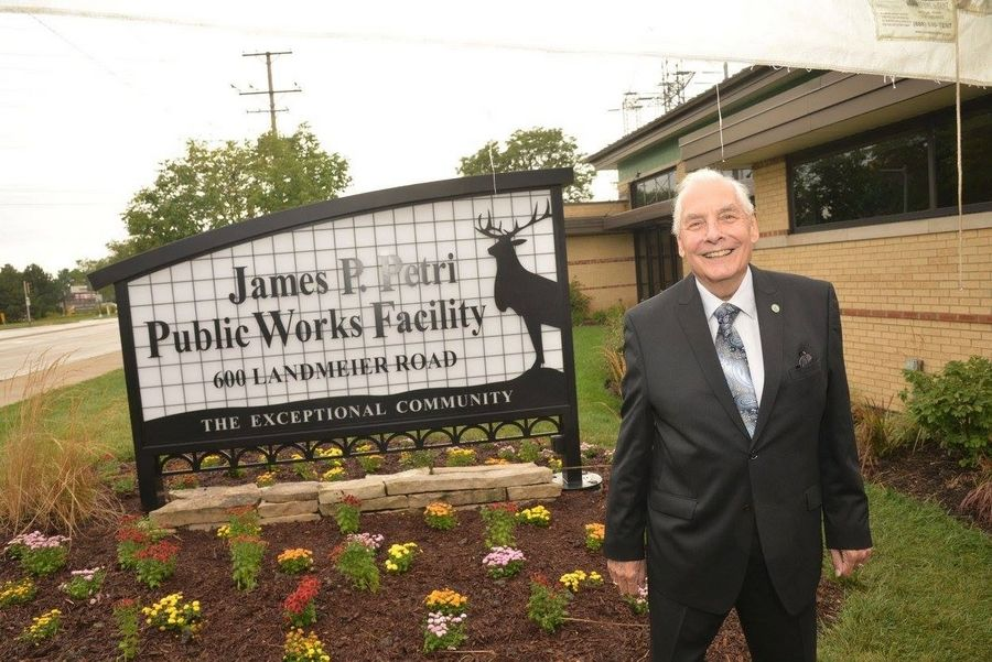 Elk Grove Village's public works facility bears the name of its longest-serving trustee, James Petri, who died July 23 at 86.
