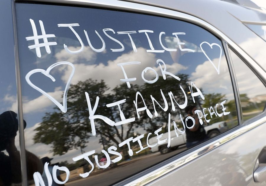 """Justice for Kianna"" is written on Fiona Galvin's car at a rally Saturday for her daughter Kianna Galvin, the South Elgin teen who disappeared four years ago in South Elgin."