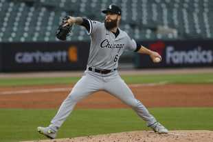 Chicago White Sox pitcher Dallas Keuchel throws against the Detroit Tigers in the second inning of a baseball game in Detroit, Monday, Aug. 10, 2020. (AP Photo/Paul Sancya)