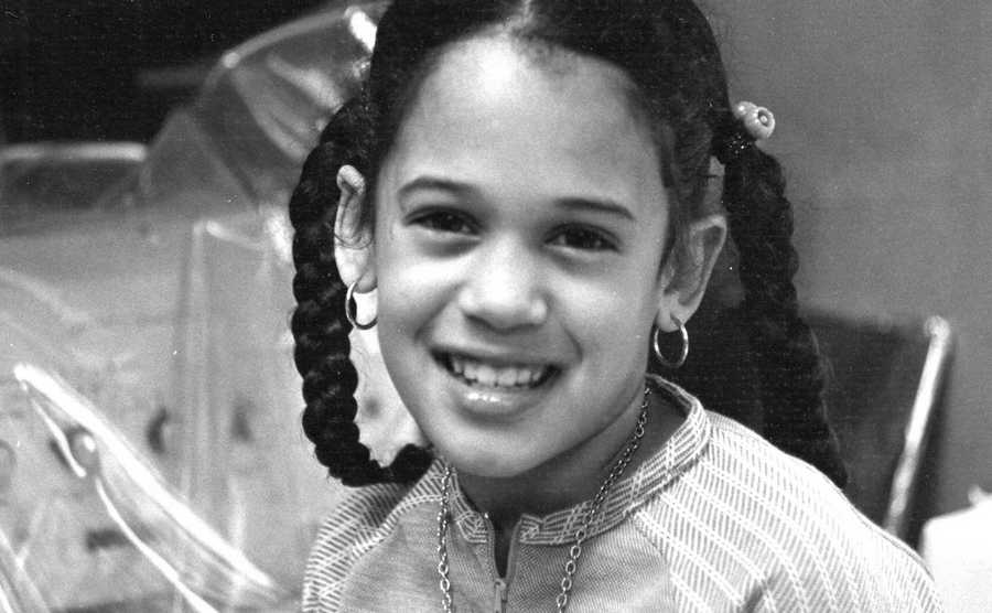 This undated photo provided by the Kamala Harris campaign in April 2019 shows her as a child at her mother's lab in Berkeley, Calif.