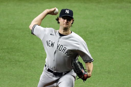 New York Yankees' Gerrit Cole pitches to the Tampa Bay Rays during the first inning of the first game of a baseball doubleheader game Saturday, Aug. 8, 2020, in St. Petersburg, Fla.