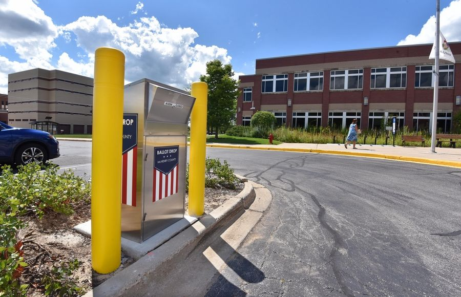 McHenry County installed this secure drop box outside the county administration building in Woodstock for voters to leave vote-by-mail ballots. Suburban counties are installing dozens of such boxes as concerns over the U.S. Postal Service mounts.