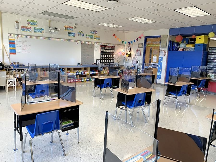 A classroom at Oak Grove School is ready for students. Classes begin Friday.