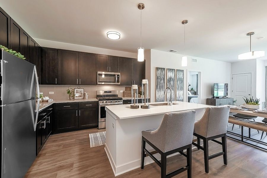 A model unit demonstrates the kitchen layout at the Element at Verdian apartment building completed this summer in Schaumburg.