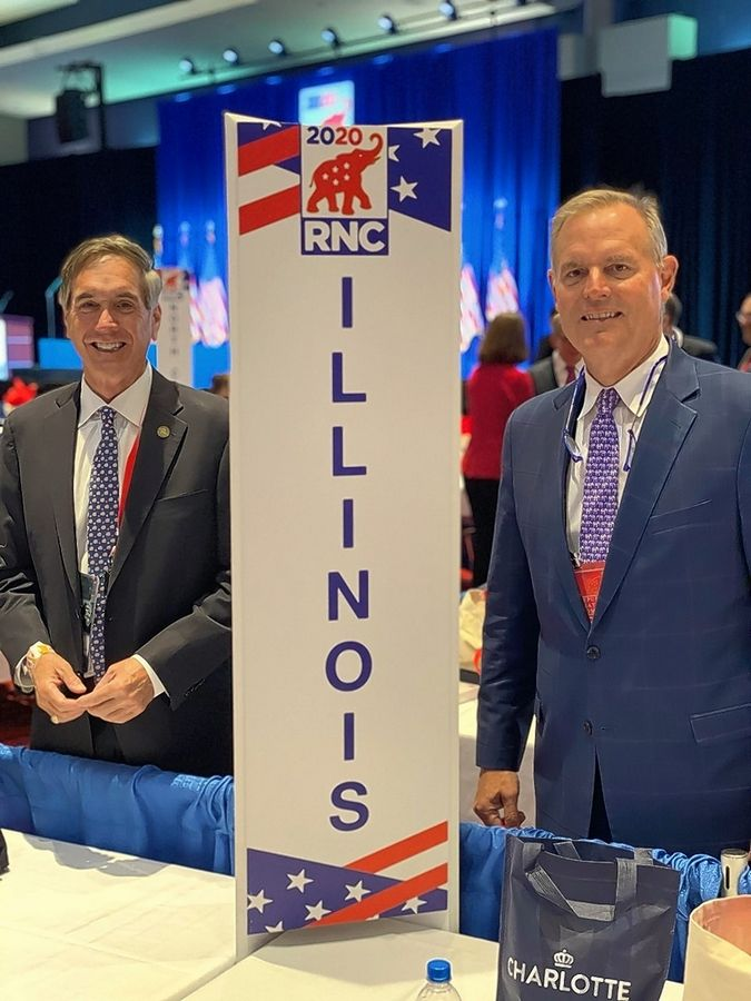 Illinois GOP Chairman Tim Schneider, left, and Illinois National Committeeman Richard Porter were the lone Republican delegates to make the trip to Charlotte, North Carolina, for the Republican National Convention.