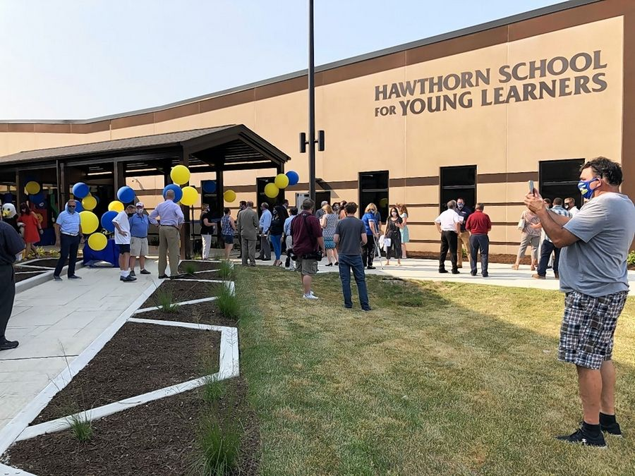 School and community officials attend a ribbon cutting event Monday for the $13.5 million Hawthorn School for Young Learners in Vernon Hills.