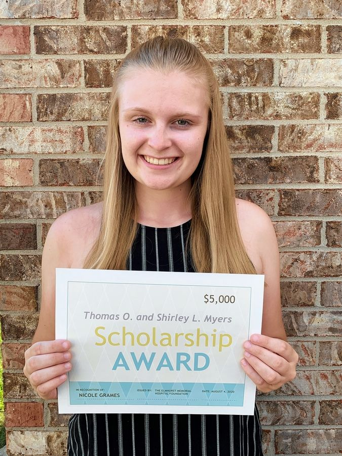 Nicole Grames of Downers Grove, a sophomore at Maryville University in St. Louis, is a recipient of a $5,000 Thomas O. Myers Jr. and Shirley L. Myers Endowed Scholarship from the Elmhurst Memorial Hospital Foundation.