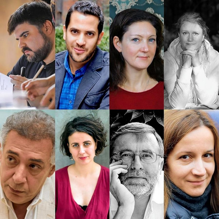 Playwrights participating in this year's virtual International Voices Project include (top row, from left) Jordi Casanovas (Spain), Kareem Fahmy (Canada), Rebekka Kricheldorf (Germany) and Pipsa Lonka (Finland) and (bottom row, from left) Sameh Mahran (Egypt), Tanja Šljivar (Serbia), Matei Visniec (Romania) and Natal'ya Vorozhbit (Ukraine).