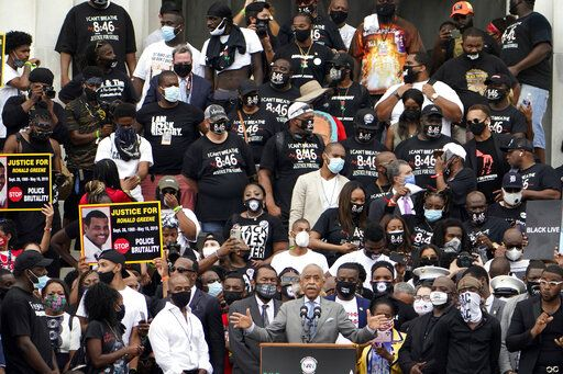 The Rev. Al Sharpton, founder and president of National Action Network, speaks at the March on Washington, Friday Aug. 28, 2020, at the Lincoln Memorial in Washington.