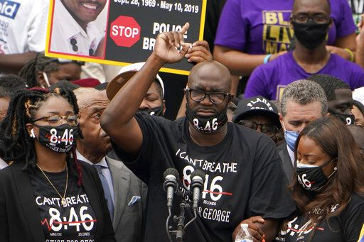 Philonise Floyd, brother of George Floyd, speaks at the March on Washington, Friday Aug. 28, 2020, at the Lincoln Memorial in Washington.
