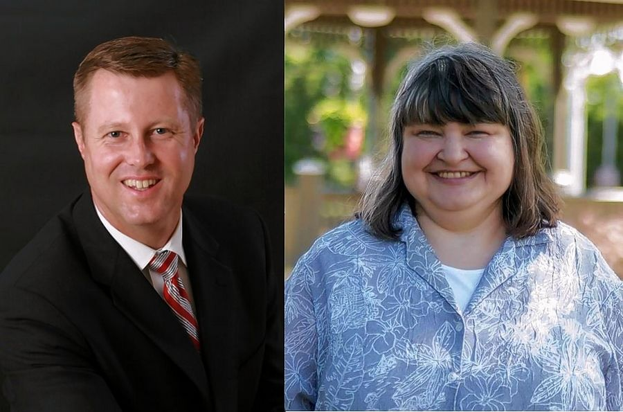 Challenger Seth Lewis, left, of Bartlett and incumbent Diane Pappas of Itasca, candidates for the Illinois House District 45 seat in November.