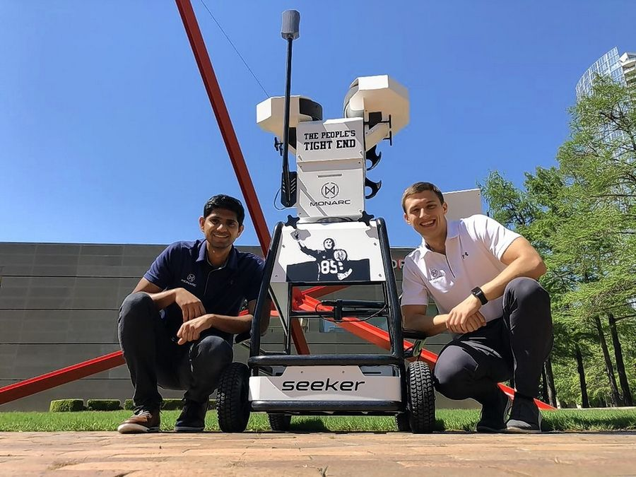 Bhargav Maganti, from left, and Igor Karlicic are creators of The Seeker, a football throwing machine that's used by NFL receivers.