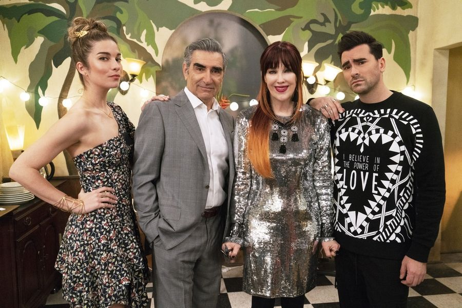 "Alexis (Annie Murphy), Johnny (Eugene Levy), Moira (Catherine O'Hara) and David (Dan Levy) Rose go from riches to rags in ""Schitt's Creek,"" the Canadian sitcom that gained a legion of fans thanks to Netflix."