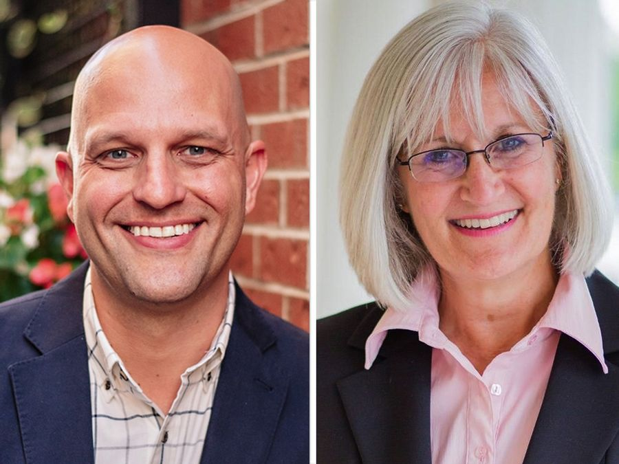 Chris Bos, left, and state Rep. Mary Edly-Allen are vying to represent the state House 51st District on Nov. 3.