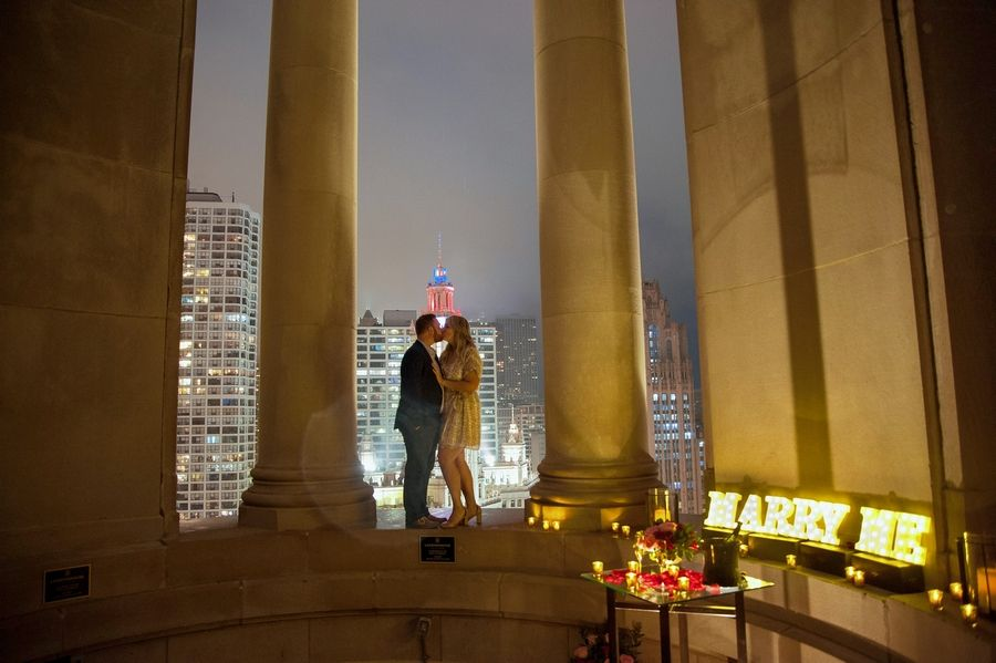 Zach Lefevre and Kayla Kennelly of Elk Grove Village got engaged Thursday night on the 23rd floor of the LondonHouse Chicago hotel that overlooks the Magnificent Mile and Chicago River.