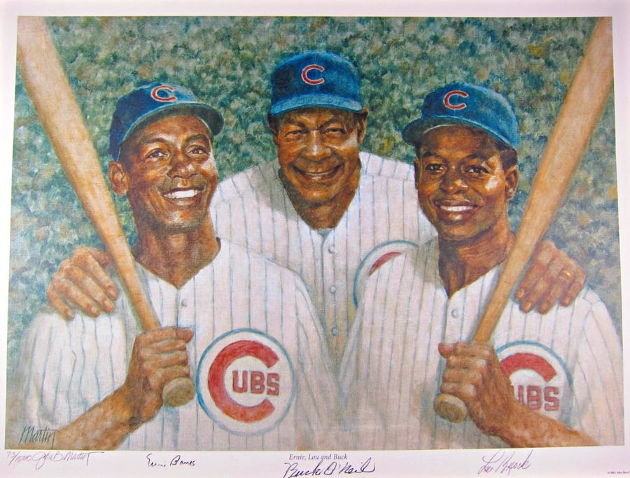 A painting of Ernie Banks, Buck O'Neil and Lou Brock.