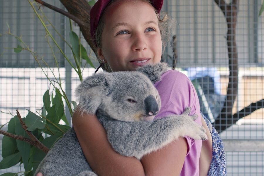 "Izzy Bee holds a koala bear in Netflix's ""Izzy's Koala World,"" which follows an 11-year-old girl as she helps her veterinarian mom take care of koalas."