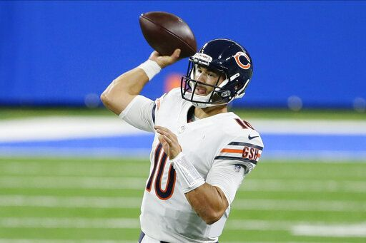Chicago Bears quarterback Mitchell Trubisky throws against the Detroit Lions in the first half of an NFL football game in Detroit, Sunday, Sept. 13, 2020.