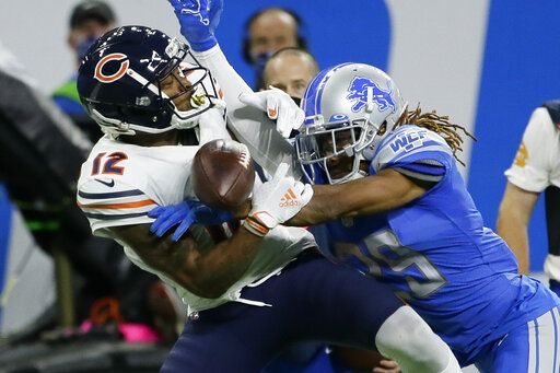 Detroit Lions cornerback Darryl Roberts (29) breaks up a pass intended for Chicago Bears wide receiver Allen Robinson (12) in the second half of an NFL football game in Detroit, Sunday, Sept. 13, 2020.