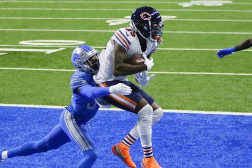 Chicago Bears wide receiver Javon Wims (83) catches a one-yard touchdown pass as Detroit Lions cornerback Tony McRae (34) defends in the second half of an NFL football game in Detroit, Sunday, Sept. 13, 2020.