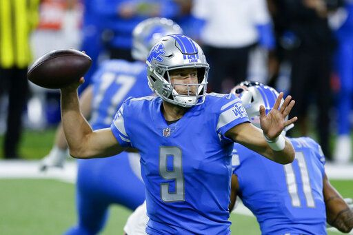 Detroit Lions quarterback Matthew Stafford throws against the Chicago Bears in the first half of an NFL football game in Detroit, Sunday, Sept. 13, 2020.