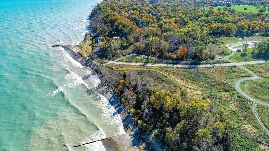 The Fort Sheridan Forest Preserve is one of only a few places in Lake County that offer free public access to Lake Michigan, and the community off the lake is full of colorful trees in the fall.