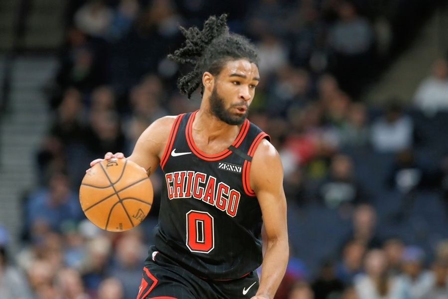 Chicago Bulls' Coby White plays against the Minnesota Timberwolves in an NBA basketball game Wednesday, March 4, 2020 in Minneapolis. The Timberwolves won 115-108.