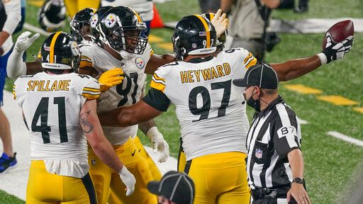 Pittsburgh Steelers defensive tackle Cameron Heyward (97) celebrates with teammates after a turnover by the New York Giants during the third quarter of an NFL football game Monday, Sept. 14, 2020, in East Rutherford, N.J.