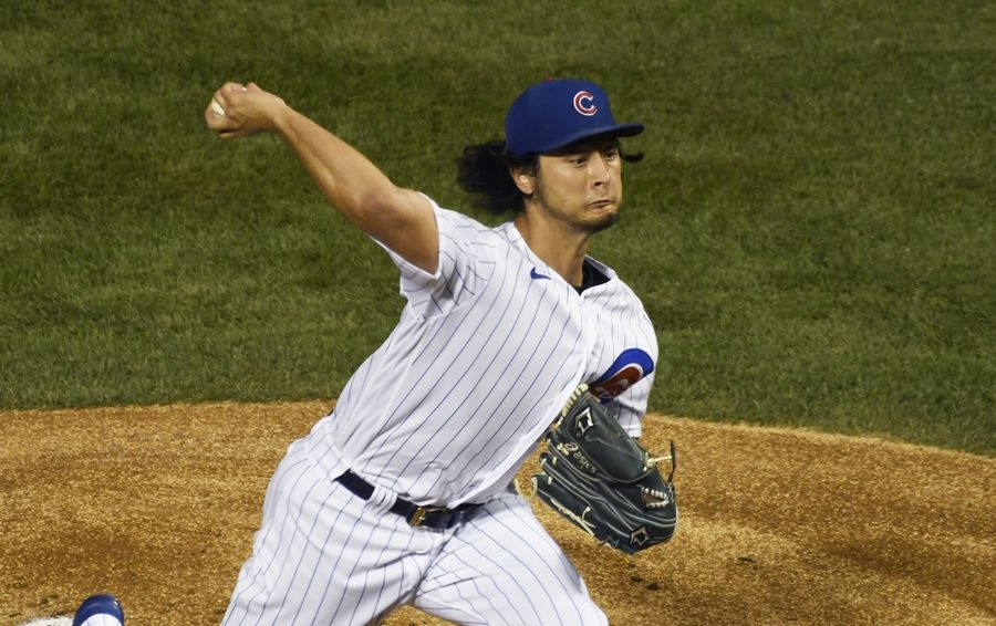 Chicago Cubs starting pitcher Yu Darvish (11) delivers against the Cleveland Indians during the first inning of a baseball game, Tuesday, Sept.15, 2020, in Chicago.