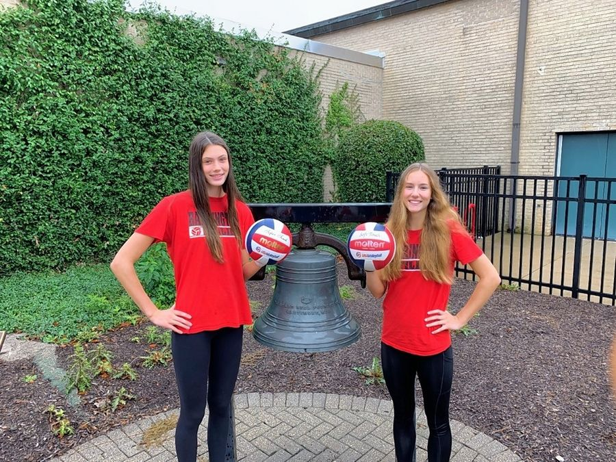 Barrington High School sophomores Campbell Paris, left, and Jessica Horwath have been named to Prep Volleyball's Top 150 list of best players in the country.