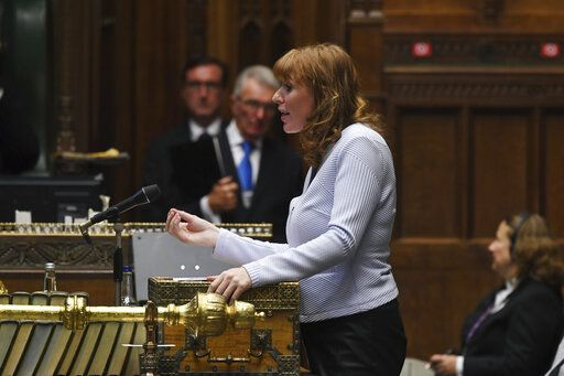 In this handout photo provided by UK Parliament, Shadow First Secretary Angela Rayner, speaks during Prime Minister's Questions in the House of Commons in London, Wednesday, Sept. 16, 2020. U.K. lawmakers have criticized the government's handling of the COVID-19 testing crisis for a second day as opposition leaders say Prime Minister Boris Johnson lacked a cohesive plan to tackle the virus as the country faces a second wave in the pandemic. (Jessica Taylor/UK Parliament via AP)