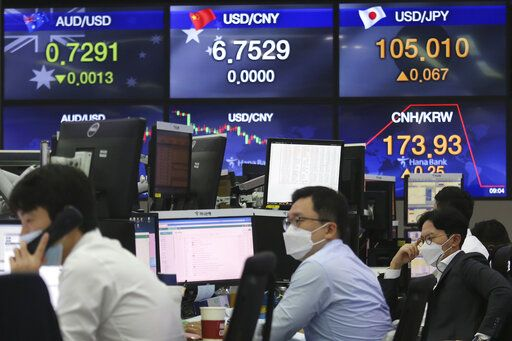 Currency traders work at the foreign exchange dealing room of the KEB Hana Bank headquarters in Seoul, South Korea, Thursday, Sept. 17, 2020. Asian stock markets declined Thursday after the U.S. Federal Reserve indicated its benchmark interest rate will stay close to zero at least through 2023 but announced no additional stimulus plans.