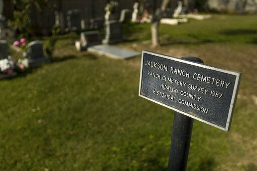 "In this Feb. 2, 2019, photo, provided by the University of Texas Rio Grande Valley, is the cemetery by the Eli Jackson Methodist Church in San Juan, Texas. It is located on a ranch once operated by Nathaniel and Matilda Jackson, a biracial couple believed to have been ""conductors"" of the Underground Railroad to Mexico. Across Texas and parts of Louisiana, Alabama, and Arkansas, scholars and preservation advocates are working to piece together a puzzle of a largely forgotten piece of American history: a network that helped thousands of Black slaves escape to Mexico. (David Pike/University of Texas Rio Grande Valley via AP)"