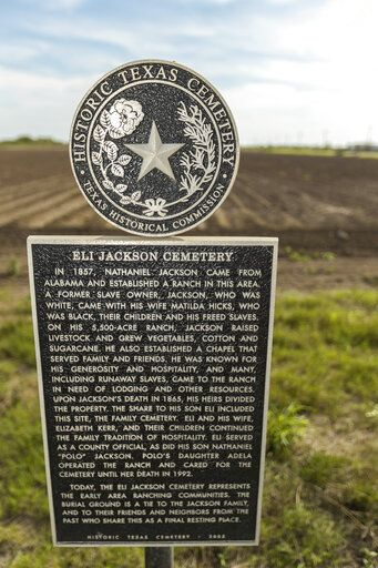"In this Feb. 2, 2019, photo, provided by the University of Texas Rio Grande Valley, is a marker for the Eli Jackson Cemetery in San Juan, Texas. It is located on a ranch once operated by Nathaniel and Matilda Jackson, a biracial couple believed to have been ""conductors"" of the Underground Railroad to Mexico. Across Texas and parts of Louisiana, Alabama, and Arkansas, scholars and preservation advocates are working to piece together a puzzle of a largely forgotten piece of American history: a network that helped thousands of Black slaves escape to Mexico. (David Pike/University of Texas Rio Grande Valley via AP)"