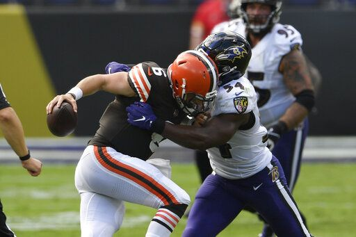 Baltimore Ravens linebacker Tyus Bowser (54) sacks Cleveland Browns quarterback Baker Mayfield (6), during the second half of an NFL football game, Sunday, Sept. 13, 2020, in Baltimore, MD.