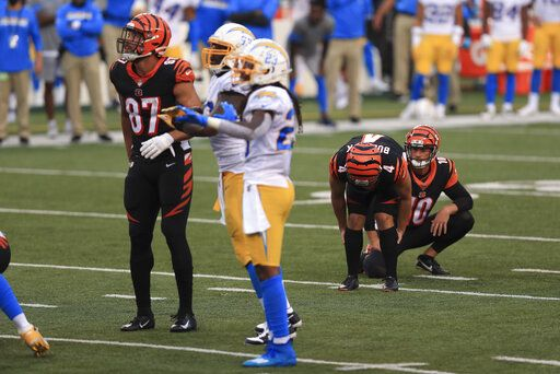 Cincinnati Bengals kicker Randy Bullock (4) reacts after missing a game tying field goal during the second half of an NFL football game against the Los Angeles Chargers, Sunday, Sept. 13, 2020, in Cincinnati. Los Angeles won 16-13.