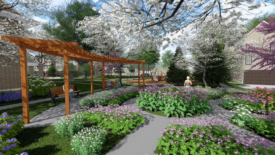 Residential development plans proposed for the Little Friends campus include creating a rose garden at the center of the Naperville property.